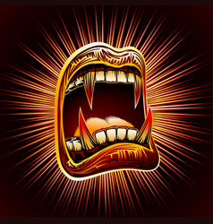 mouth open blood fang halloween vampire jaws fang vector image