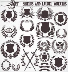Set - shields and laurel wreaths vector