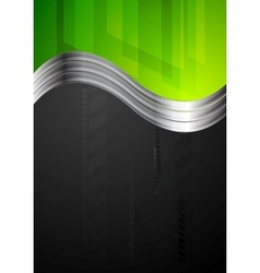 Tech bright background with metallic waves vector image
