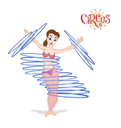 A circus girl spinning hulahoops vector