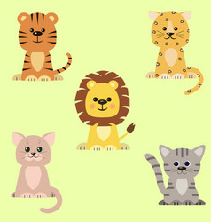 a set of icons of a cat a tiger a lion a vector image
