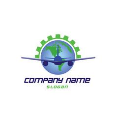 Airplane world logo vector