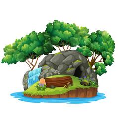 An isolated cave island vector