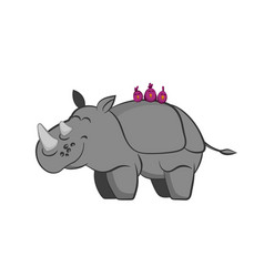 Animals of zoo rhinoceros with birds vector