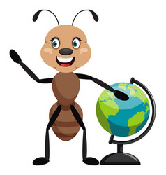 Ant with globe on white background vector