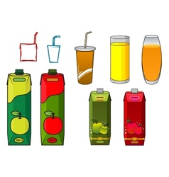 Apple juice design elements in cartoon style vector