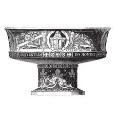 Baptismal font vintage vector