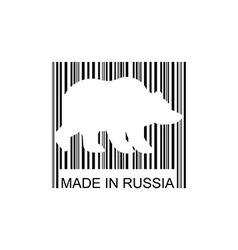 Bear barcode for goods from Russia Wild animal bar vector