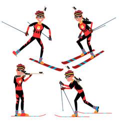 biathlon male player in action sportsman vector image