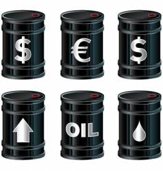 black oil barrels with insignia vector image