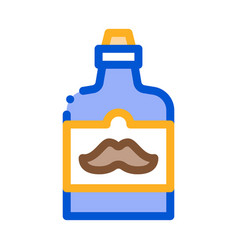 bottle mustache on label icon outline vector image