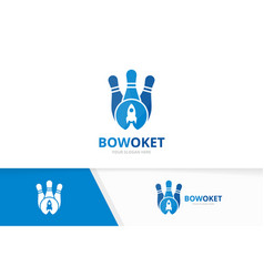 bowling and rocket logo combination game vector image