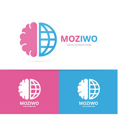 brain and world logo combination education vector image