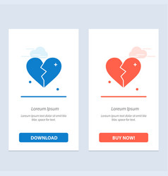 broken love heart wedding blue and red download vector image