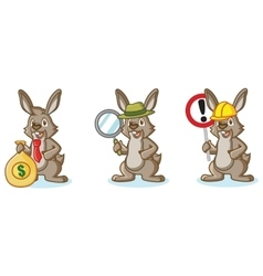 Brown Bunny Mascot with money vector image