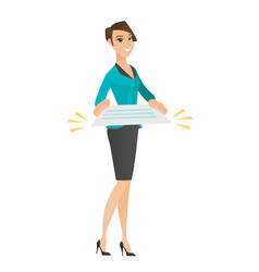 Business woman holding a contract vector