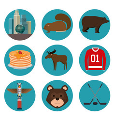 Canadian culture set icons vector