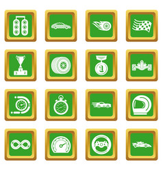 car race icons set green square vector image