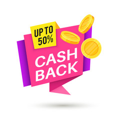 cashback money sticker saving symbol sticker vector image