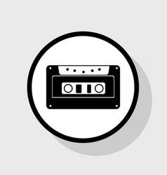 Cassette icon audio tape sign flat black vector