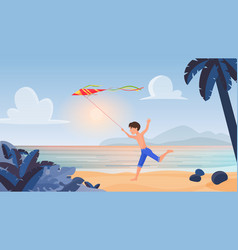 child boy playing running with kite in tropical vector image