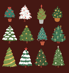 christmas new year tree icons ornament star vector image