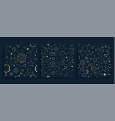 christmas seamless pattern set with golden element vector image