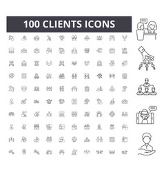 clients line icons signs set outline vector image