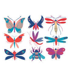 colorful cute insects set butterfly beetle bug vector image