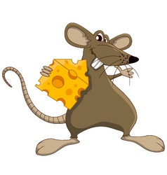 Cute cartoon mouse with cheese vector