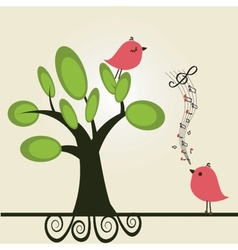 cute floral spring birds vector image