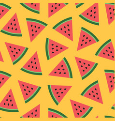 Cute seamless pattern with watermelons vector
