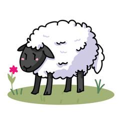 Cute sheep cartoon motif set vector