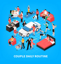 daily life couple isometric vector image