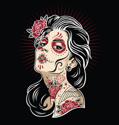 Day of the dead girl vector