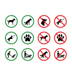 dog forbidden signs dogs permission and vector image