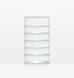 Empty glass shelves on white wall vector