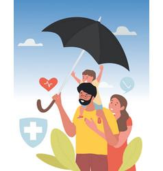 Family under umbrella vector