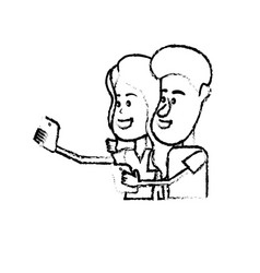 Figure beauty couple with hairstyle and smartphone vector