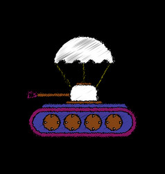 Flat shading style icon tank on parachute vector
