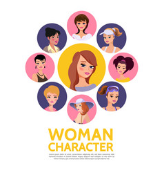 flat woman characters avatars concept vector image