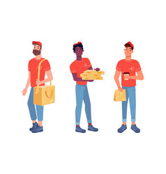 food delivery couriers pizza man and lunch boxes vector image
