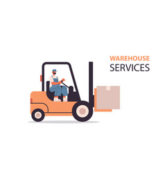 forkplift driver loading cardboard boxes in vector image