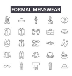 formal menswear line icons for web and mobile vector image