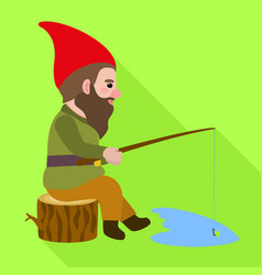 gnome fishing icon flat style vector image