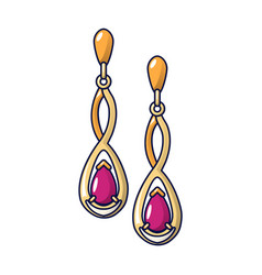 gold ruby earrings icon cartoon style vector image