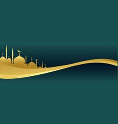 Golden islamic banner with mosque design vector