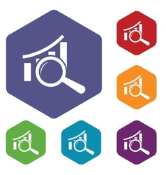 Graph scan rhombus icons vector