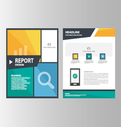 Green orange blue annual report brochure flyer set vector image