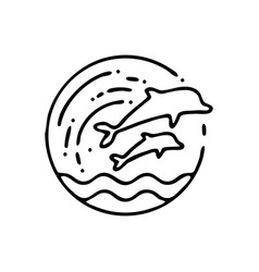 Handmade beach dolphin icon in linear style vector